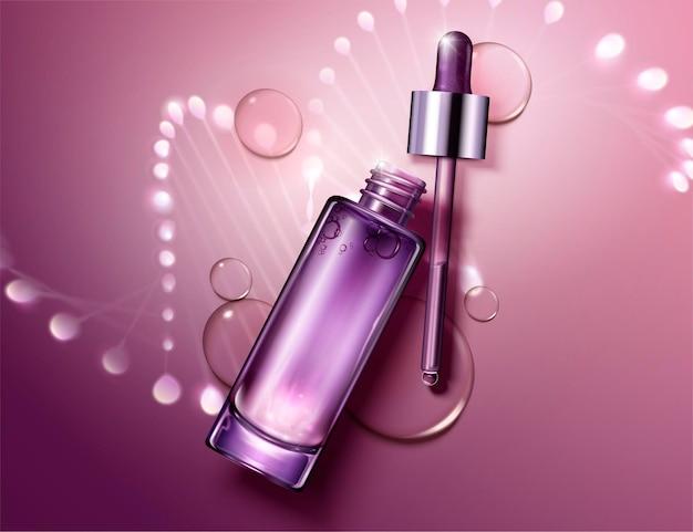 Anti-veroudering cosmetisch pakketontwerp met gloeiende helixstructuur achter de flessen in 3d-stijl, plat lag perspectief