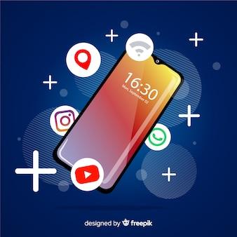 Anti-zwaartekracht mobiele telefoon met elementen