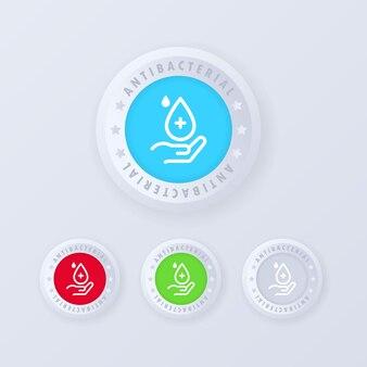 Antibacteriële zeep pictogramserie. antibacteriële knop in 3d-stijl. hand met druppel.
