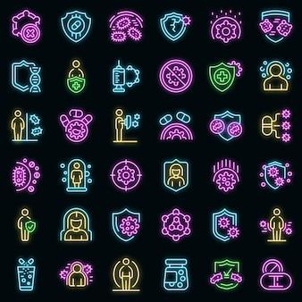 Antibioticaresistentie pictogrammen instellen vector neon