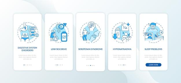 Antidepressiva bijwerkingen onboarding mobiele app pagina-scherm met concepten