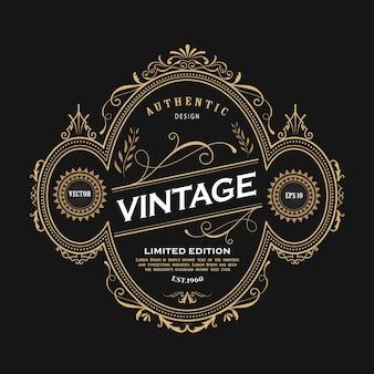 Antiek ellips design westerse label vintage