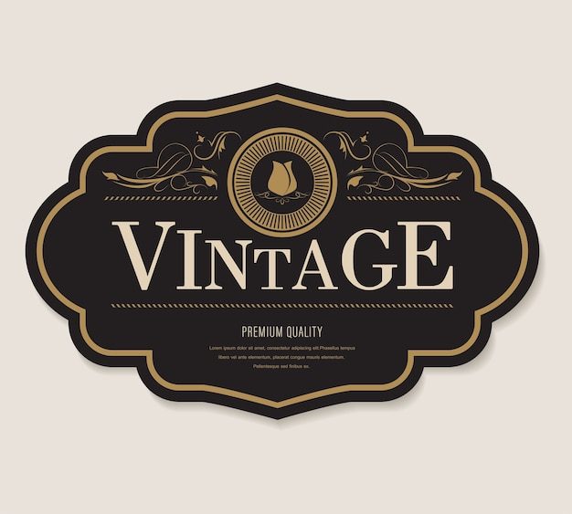 Antiek etiket en uitstekende het kadergrens van de banner retro stijl.