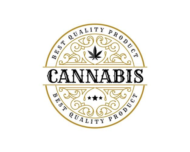 Antiek luxe koninklijk vintage cannabisbladlogo met decoratief sierframe voor hennepoliemerk