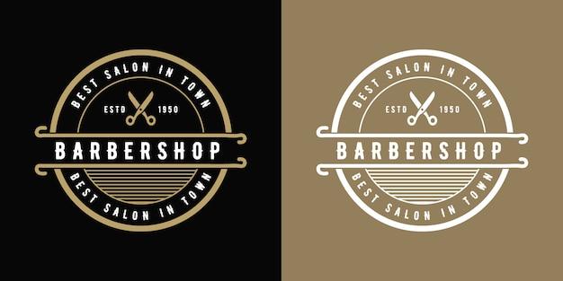 Antiek luxe vintage western-style barbershop logo-ontwerp geschikt voor salon spa beauty kapper mode haarverzorging en huidverzorging kapperszaak