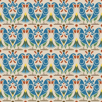 Antiek naadloos patroon van de dierlijke bloem van de vogelpapegaai