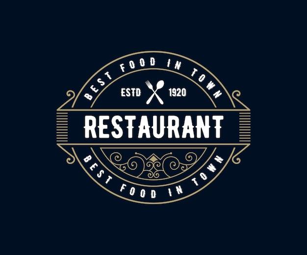 Antiek retro luxe logo met sierlijst voor de koffieshop van het hotelrestaurant