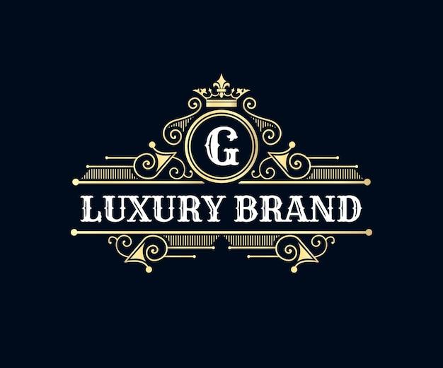 Antiek retro luxe victoriaans embleem met sierlijst