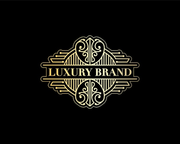 Antiek retro luxe victoriaans kalligrafisch embleem heraldisch logo met decoratief ornament