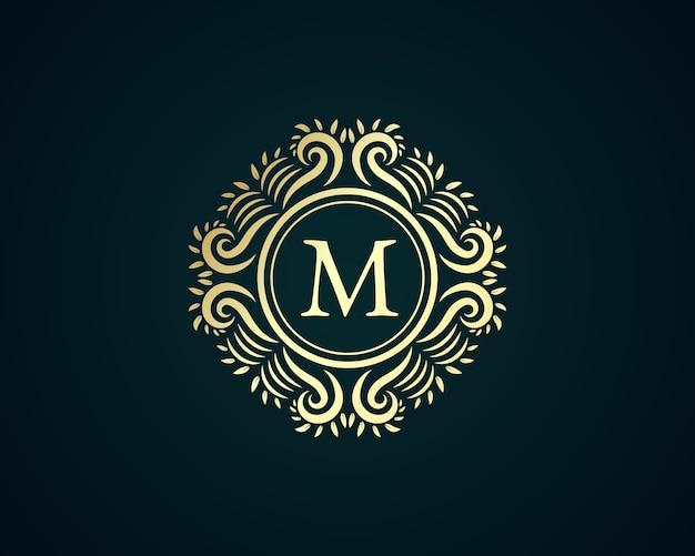 Antiek retro luxe victoriaans kalligrafisch embleem logo met sierlijst geschikt voor kapper wijn carft bierwinkel spa schoonheidssalon boetiek antiek restaurant hotel resort klassiek koninklijk merk