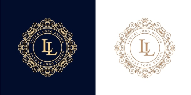 Antiek retro luxe victoriaans kalligrafisch embleemlogo met sierlijst