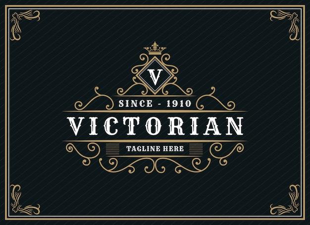 Antiek retro luxe victoriaans kalligrafisch logo met sierlijst geschikt voor kapper wijn carft bierwinkel spa schoonheidssalon boetiek antiek restaurant hotel resort klassiek koninklijk merk