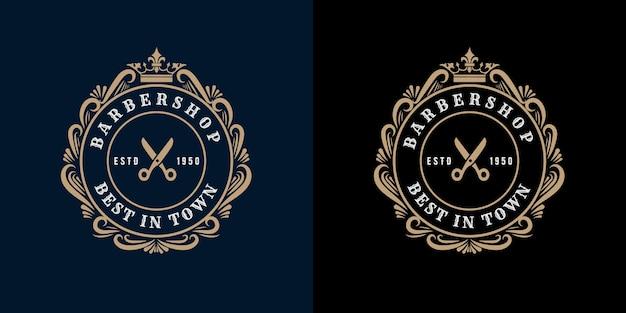 Antiek retro luxe victoriaans kalligrafisch logo met sierlijst voor kapsalon