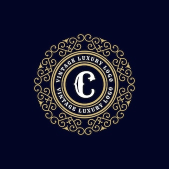 Antiek retro luxe victoriaans logo met sierlijst