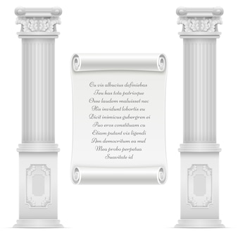 Antiek roman architectuurontwerp met marmeren steen colomns en tekst op de steen van het muurperkament, vector gegraveerde tekst op marmeren illustratie