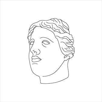 Antiek standbeeldhoofd in een trendy stijl met minimalistische voering. vectorillustratie van de griekse god voor afdrukken op t-shirts, posters, ansichtkaarten, tatoeages en meer