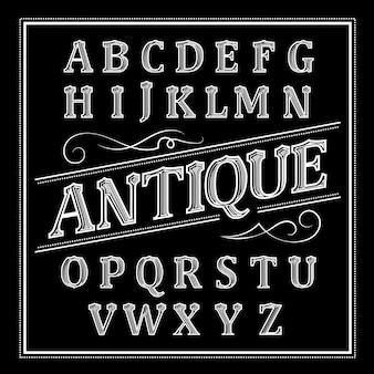Antiek thema alfabet ontwerp
