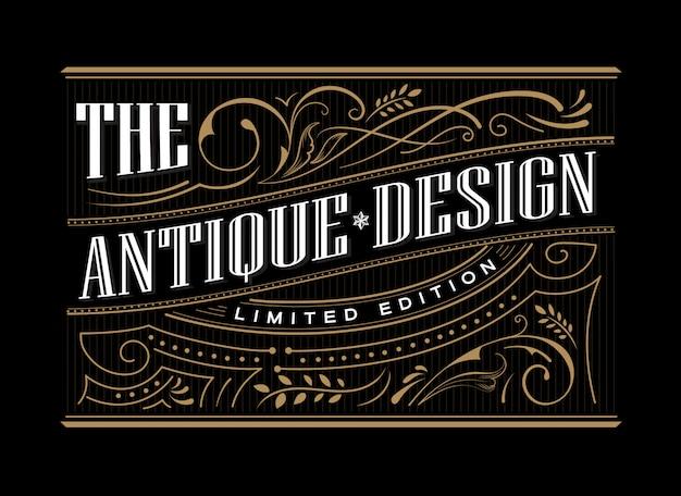 Antieke frame label westerse hand getrokken grens typografie gravure vintage retro illustratie