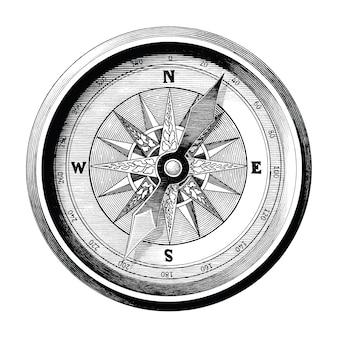 Antieke gravure illustratie van vintage kompas zwart-wit illustraties geïsoleerd, kompas van reizen en zee manier