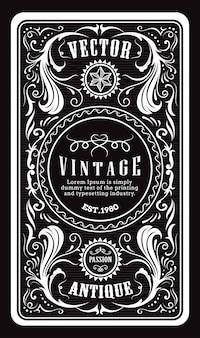 Antieke gravure vintage frame grens westerse label retro hand getekend vectorillustratie
