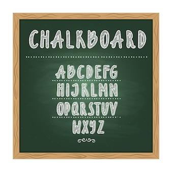 Antieke kind school schoolbord met groene textuur en hand alfabet op het schrijven. vector doodle wr