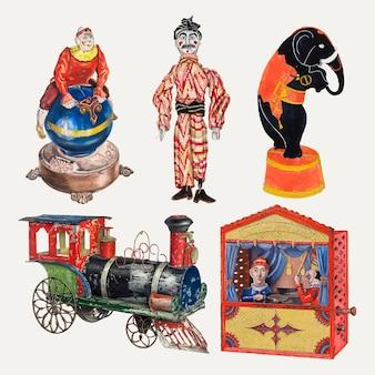 Antieke kinderspeelgoed vector design element set, geremixt uit publieke domein collectie