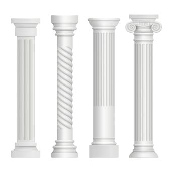 Antieke kolom. historische griekse pijlers oude gebouw architectuur kunst sculptuur realistische foto's