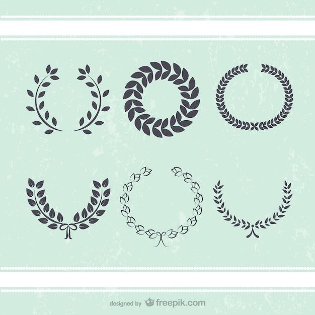 Antieke krans bladeren decoratie vectoren