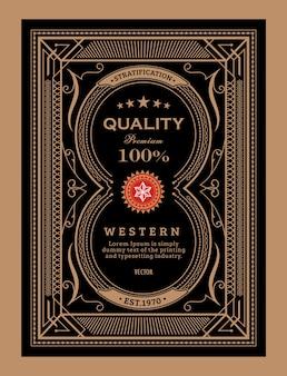 Antieke label frame vintage grens westerse hand getekend retro vectorillustratie
