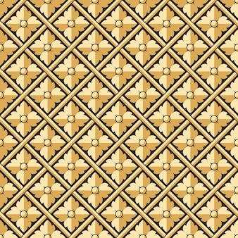 Antieke naadloze patroon van reliëf cross check ronde bloem