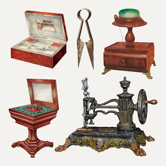 Antieke naai-apparatuur vector design element set, geremixt uit publieke domein collectie