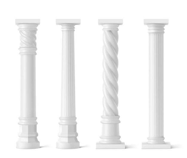 Antieke pijlers die op wit worden geïsoleerd Gratis Vector
