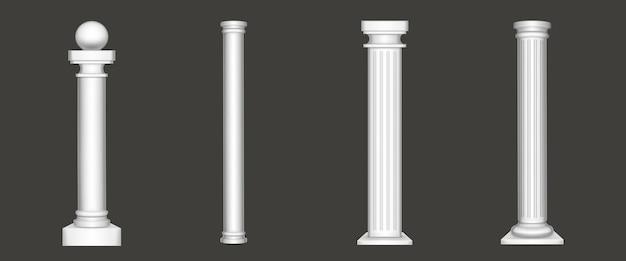 Antieke pijlers die op wit worden geïsoleerd