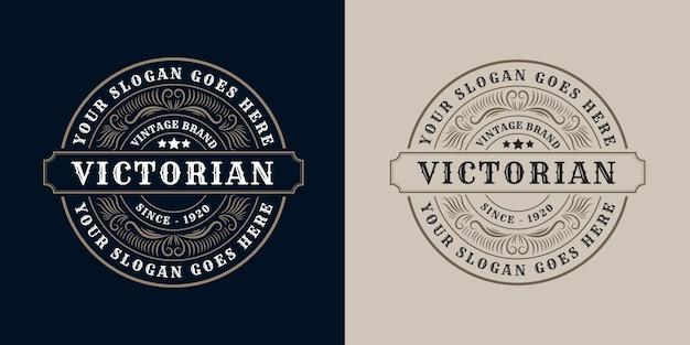 Antieke retro luxe victoriaanse kalligrafische logo set