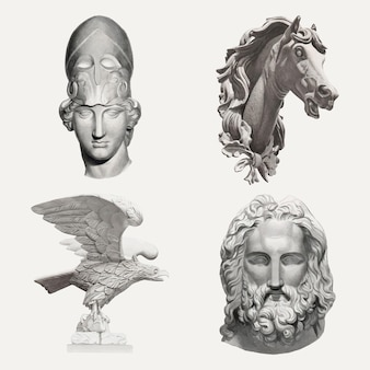 Antieke sculpturen vector design element set, geremixt uit publieke domein collectie