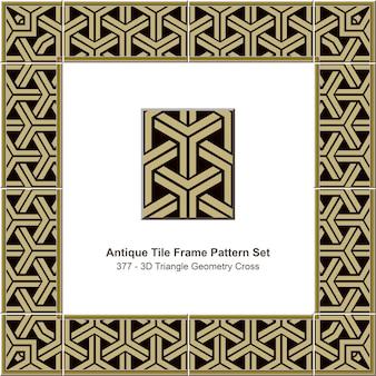 Antieke tegel frame patroon set 3d driehoek geometrie kruis