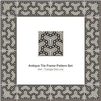 Antieke tegel frame patroon set grijze driehoek dot line