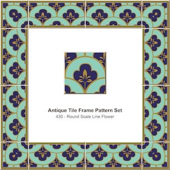 Antieke tegel frame patroon set ronde schaal lijn bloem