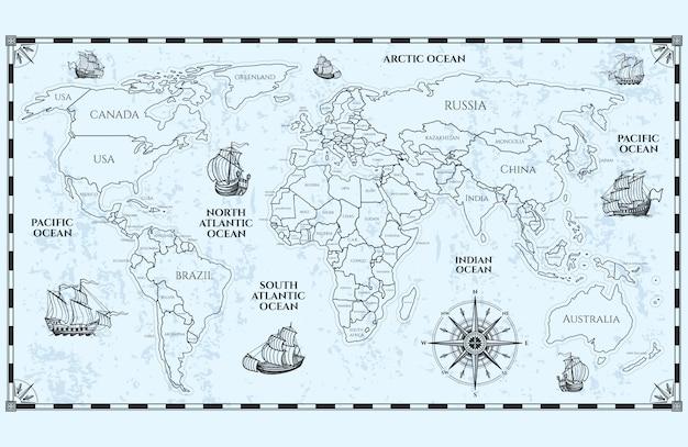 Antieke wereldkaart met landsgrenzen en schepen