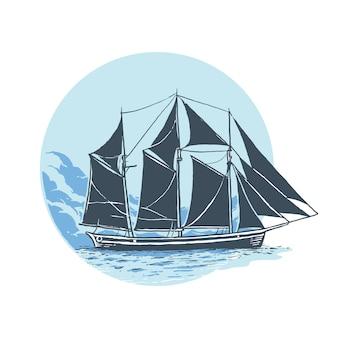 Antieke zeilboot aan zee