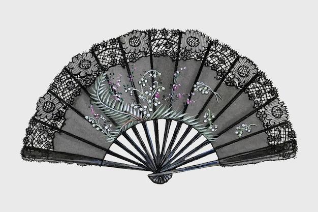 Antieke zijden waaier vector design element, remix van artwork door jean peszel