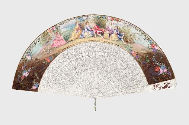 Antieke zijden waaier vector design element, remix van artwork door jessie m. benge