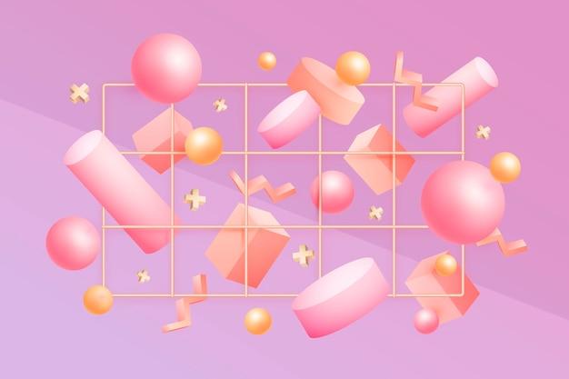Antigravity geometrische vormen in 3d-effect