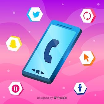 Antigravity mobiele telefoon isometrisch ontwerp