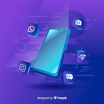 Antigravity mobiele telefoon met elementen rond
