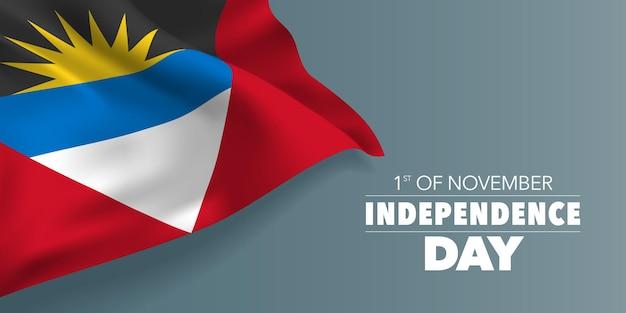 Antigua en barbuda onafhankelijkheidsdag wenskaart, banner met sjabloon tekst vectorillustratie. antiguaanse herdenkingsvakantie 1 november ontwerpelement met vlag met strepen en zon