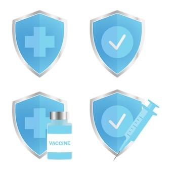 Antimicrobieel bestendig badgesymbool van bescherming blauw glanzend schild met zilveren rand