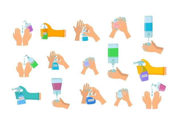 Antiseptische spray in kolf doodt bacteriën. zeep, antiseptische gel en andere hygiënische producten van coronavirus. hygiëne iconen set. antibacterieel concept. alcohol vloeistof, pomp spray fles. vector illustratie.