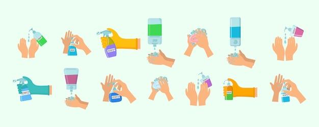 Antiseptische spray in kolf doodt bacteriën. zeep, antiseptische gel en andere hygiënische producten van coronavirus. hygiëne icons set. antibacterieel concept. alcoholvloeistof, pompspuitfles. vector.