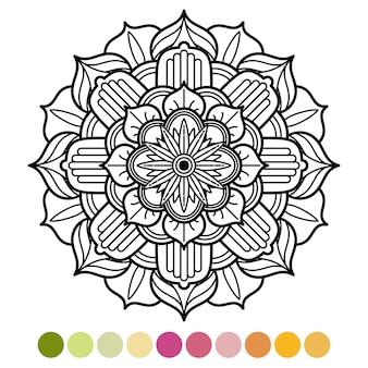 Antistress mandala kleurplaat met kleurenvoorbeeld